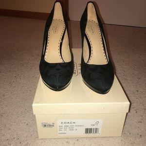 Black Coach heels, size 8.5 barley warn